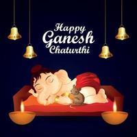 Ganpati bappa moreya invitation greeting card with vector illustration of lord ganesha