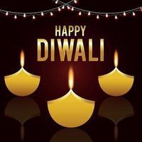 Creative vector illustration of happy diwali indian festival background Diwali festival of light