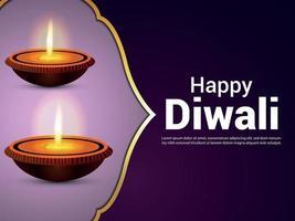 Diwali indian festival celebration greeting card with diwali diya on purple background vector