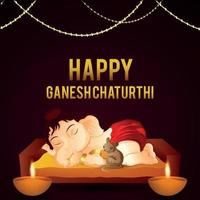 Happy ganesh chaturthi celebration greeting card with vector illustration of lord ganesha