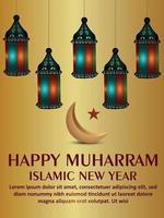 Happy muharram celebration party flyer with creative lantern and moon vector