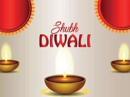 Happy diwali celebration background with diwali diya on creative background vector