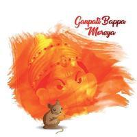Happy ganesh chaturthi celebration greeting card with realistic vector illustration of lord ganesha