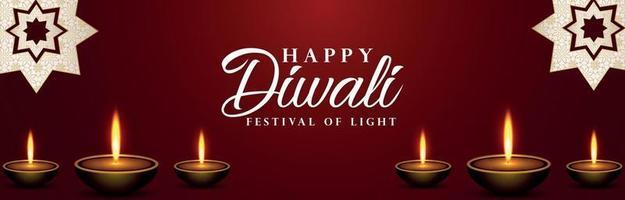 Happy diwali celebration banner with diwali diya vector