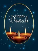 Happy diwali celebration flyer with diwali realistic diya vector