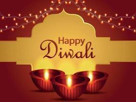 Happy diwali indian festival celebration background with creative diwali diya vector