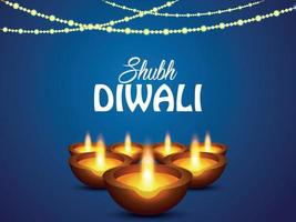 Shubh diwali indian festival celebration greeting card with creative diwali diya vector