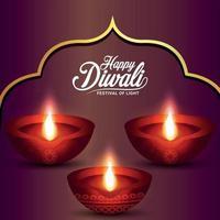 Happy diwali indian festival celebration background with diwali diya vector