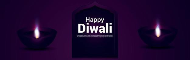 Happy diwali celebration banner or header with vector illustration