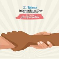 stop racism international day poster with interracial handshake vector