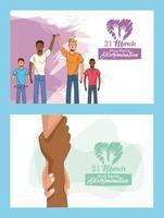stop racism international day poster with interracial men and handshake vector