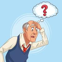 old man patient of alzheimer disease with ask speech bubble vector