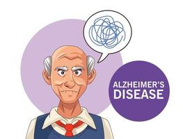 old man patient of alzheimer disease with scribble in speech bubble vector
