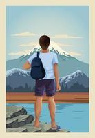 beautiful landscape with male traveler scene vector