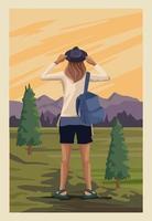 beautiful landscape with female traveler scene vector