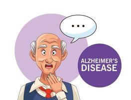old man patient of alzheimer disease with speech bubble vector