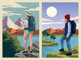 beautiful landscape with travelers couple scene vector