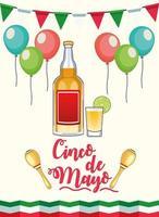 Celebración de la fiesta del cinco de mayo con bebida de tequila. vector