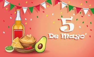 Celebración de la fiesta del cinco de mayo con tequila y comida. vector