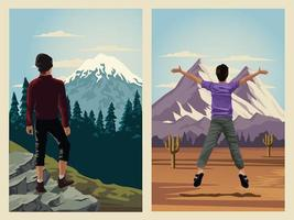 beautiful landscape with men travelers scene vector