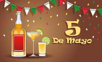 Celebración de la fiesta del cinco de mayo con bebidas de tequila. vector