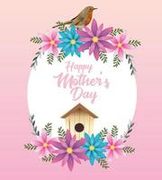 happy mothers day card with flowers and bird house circular frame vector