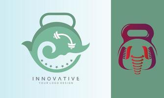 Dental fitness and sea weave vector logo design