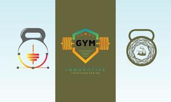 A set of gym and fitness logo with dumbbell vector