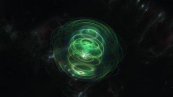 boucle d'objet plasma tournant non identifié vert brillant tordu video