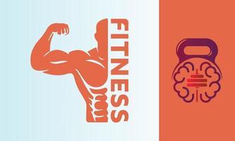 Fitness and brain brainstorm vector logo design