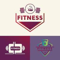 Set of fitness vector logo design