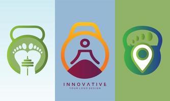 Yoga and footprint fitness vector logo