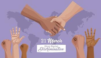 stop racism international day poster with hands and planet earth vector