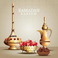celebración de ramadan kareem con utensilios dorados y manzanas vector