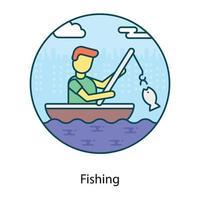 Fishing Man catching vector