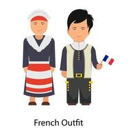 French Outfit Attire vector