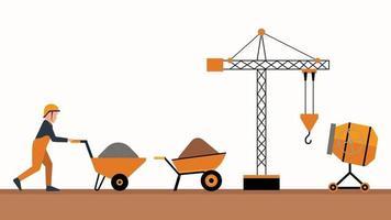 equipo de construcción conjunto trabajador grúa mezclador de cemento vector
