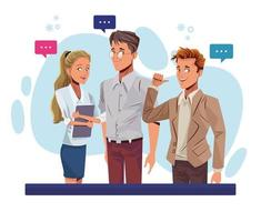 young business people talking workers characters vector