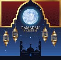 ramadan kareem celebration with taj mahal and lamps vector