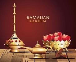ramadan kareem celebration with golden utensils and apples vector