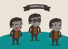 3 cute frankenstein set vector