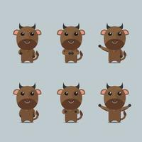 cow collection set animal vector