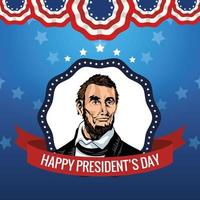 happy presidents day poster with abraham lincoln vector