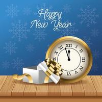 happy new year card with watch and gift vector