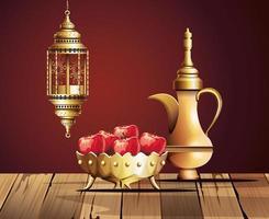 ramadan kareem celebration with golden teapot and food vector