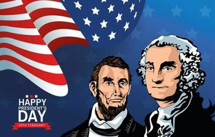 happy presidents day poster with lincoln and washington vector