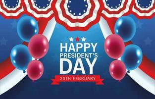 happy presidents day poster with usa flag and balloons helium vector