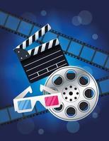 entretenimiento de cine con carrete y claqueta vector