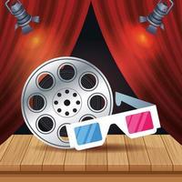 entretenimiento de cine con carrete y gafas 3d vector
