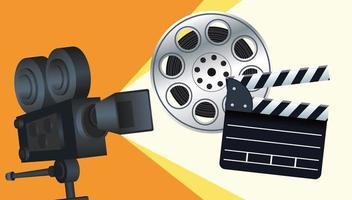 entretenimiento de cine con claqueta y cámara. vector
